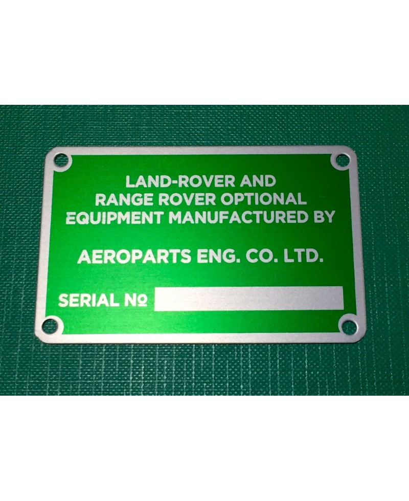 Aeroparts Winch / PTO Serial Number Plate RTC8001-PLATE