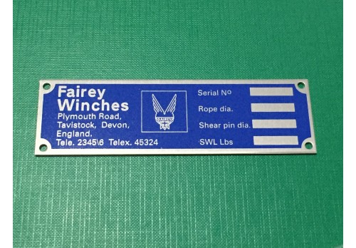 Fairey Winch Serial Number Plate (Early) FWL-PLATE-BLUE